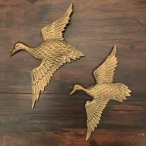 Pair of Two Brass Ducks Midcentury Wall Art